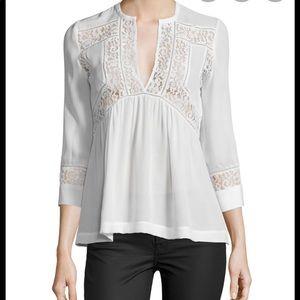 Rebecca Taylor cream silk lace blouse.  Size 4.
